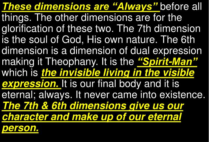 """These dimensions are """"Always"""""""