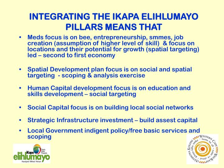 INTEGRATING THE IKAPA ELIHLUMAYO PILLARS MEANS THAT