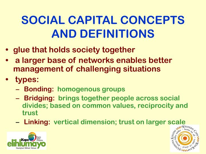 SOCIAL CAPITAL CONCEPTS AND DEFINITIONS