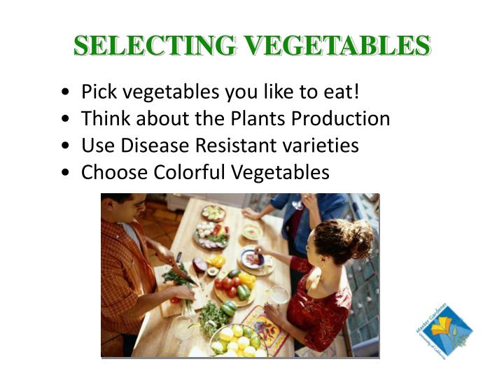 SELECTING VEGETABLES
