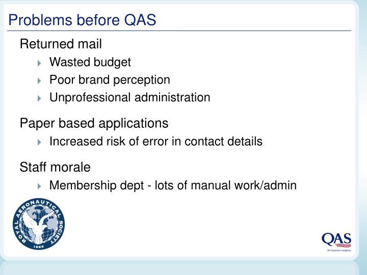 Problems before QAS