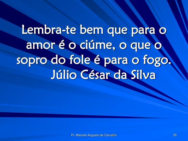 Lembra-te bem que para o amor é o ciúme, o que o sopro do fole é para o fogo.Júlio César da Silva