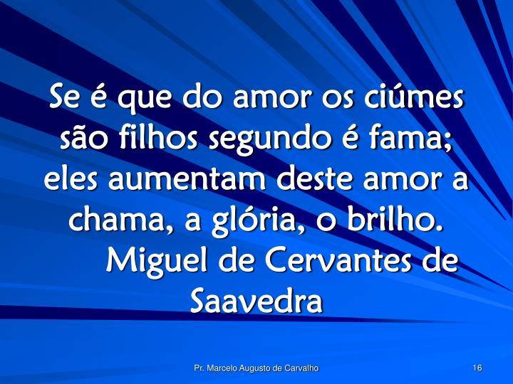 Se é que do amor os ciúmes são filhos segundo é fama; eles aumentam deste amor a chama, a glória, o brilho.Miguel de Cervantes de Saavedra