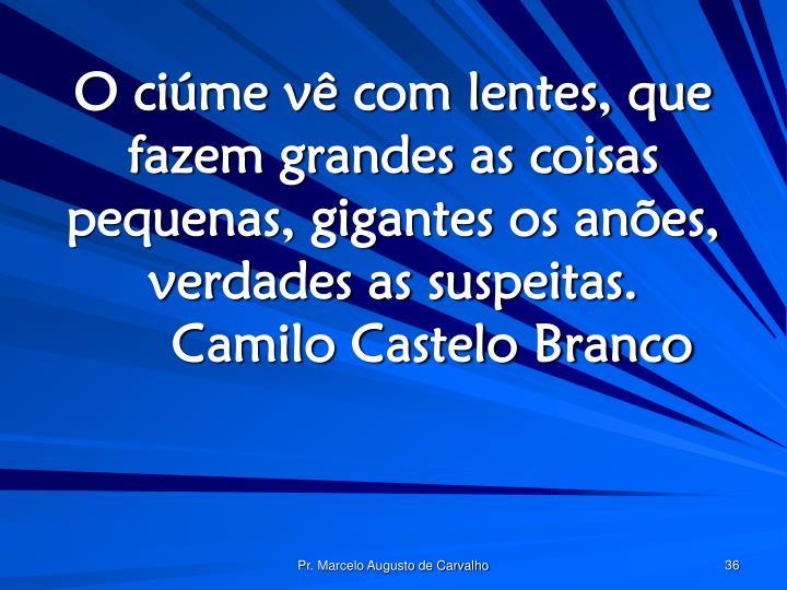 O ciúme vê com lentes, que fazem grandes as coisas pequenas, gigantes os anões, verdades as suspeitas.Camilo Castelo Branco