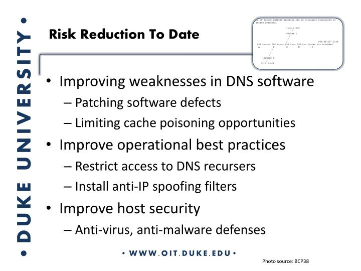Risk Reduction To Date