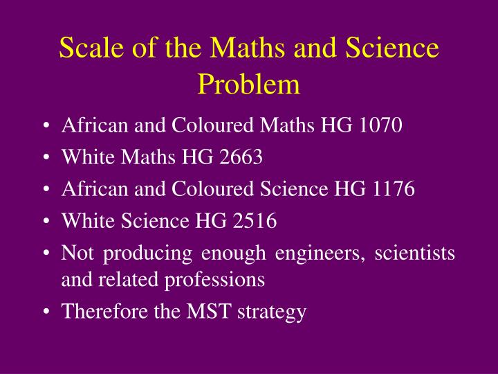 Scale of the Maths and Science Problem