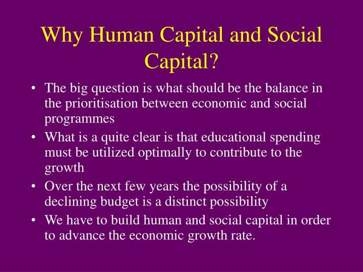 Why Human Capital and Social Capital?