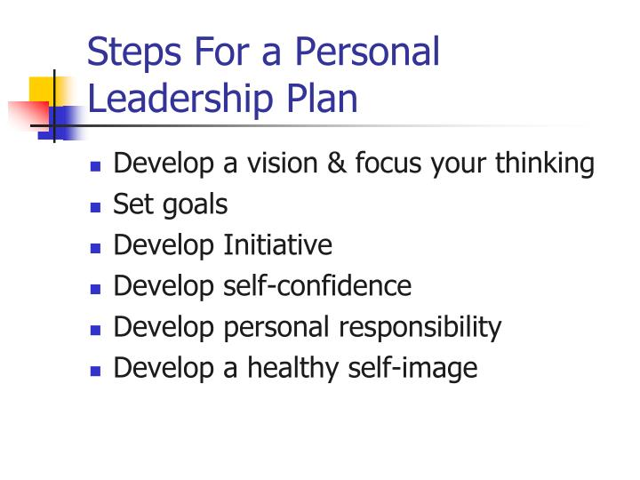 Steps For a Personal Leadership Plan