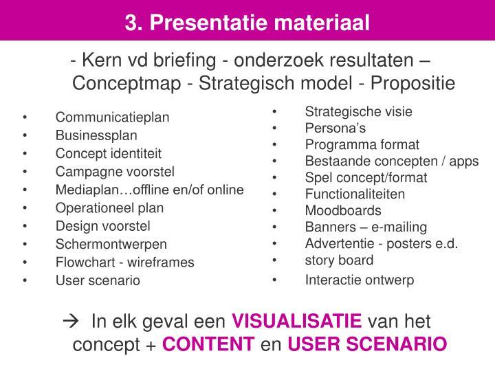 3. Presentatie materiaal