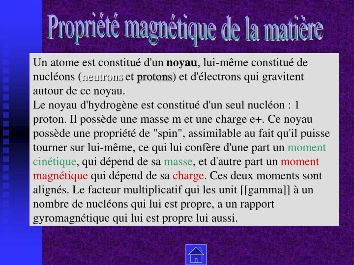 Propriété magnétique de la matière