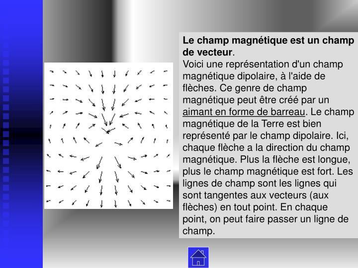 Le champ magnétique est un champ de vecteur