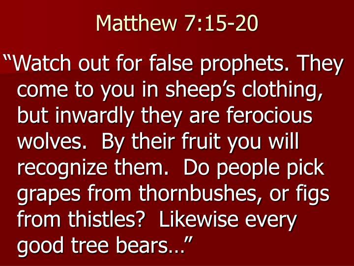 Matthew 7:15-20