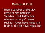 matthew 8 19 22