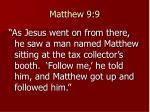matthew 9 9
