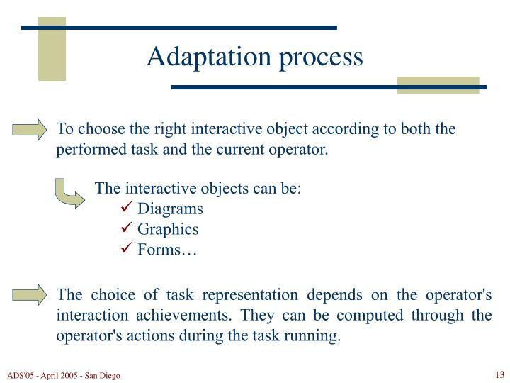 To choose the right interactive object according to both the performed task and the current operator.
