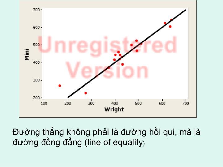 Đường thẳng không phải là đường hồi qui, mà là đường đồng đẳng (line of equality