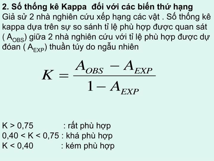 2. Số thống kê Kappa  đối với các biến thứ hạng