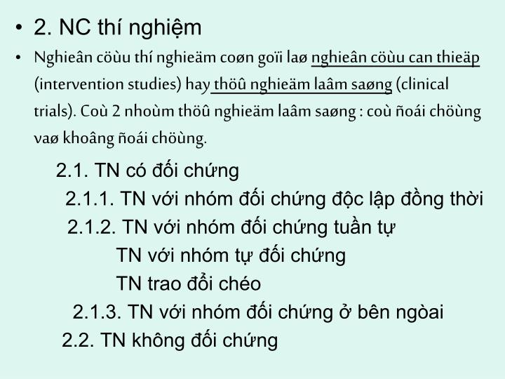 2. NC thí nghiệm