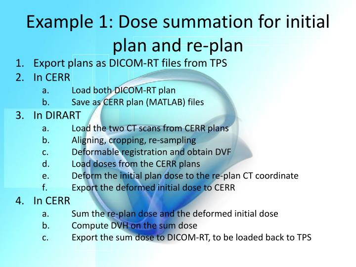 Example 1: Dose summation for initial plan and re-plan
