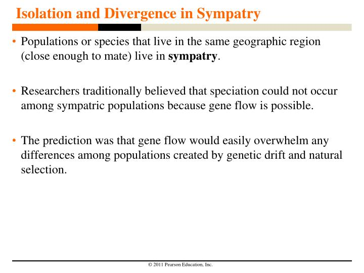 Isolation and Divergence in Sympatry