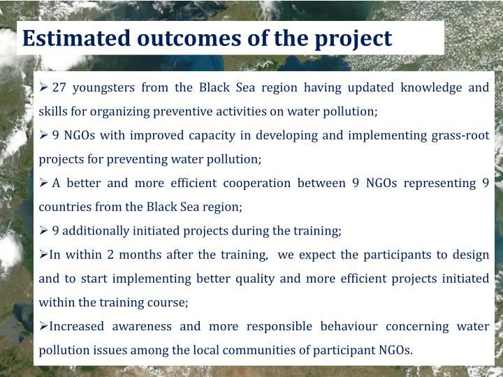 Estimated outcomes of the project