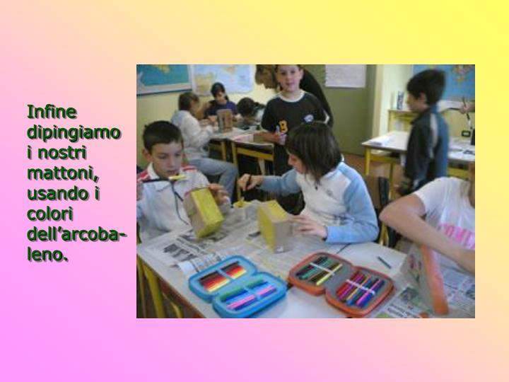Infine dipingiamo i nostri mattoni, usando i colori dell'arcoba-leno.