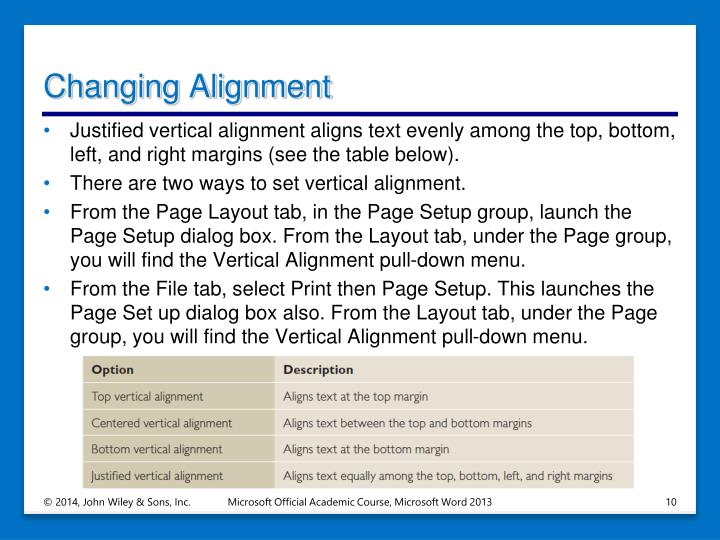 Changing Alignment