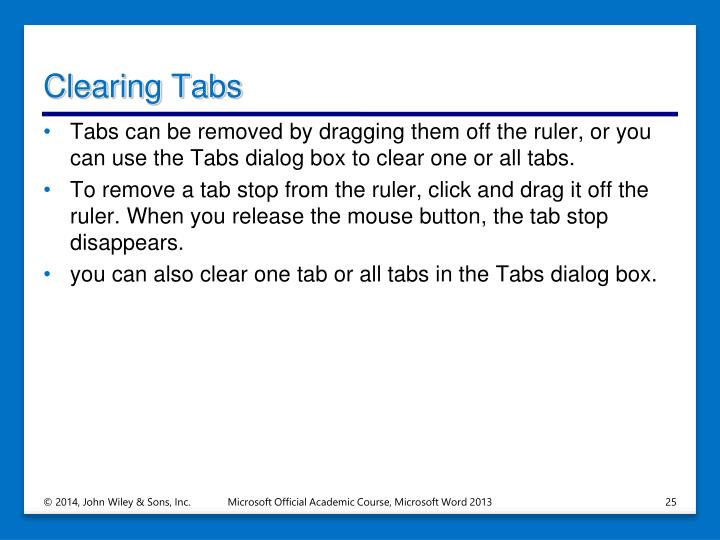 Clearing Tabs