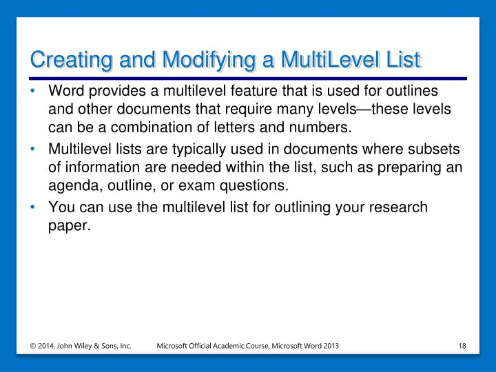 Creating and Modifying a MultiLevel List