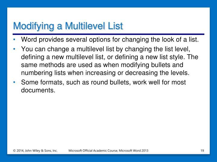 Modifying a Multilevel List