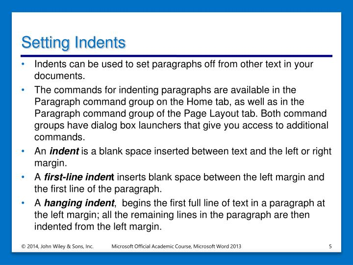 Setting Indents