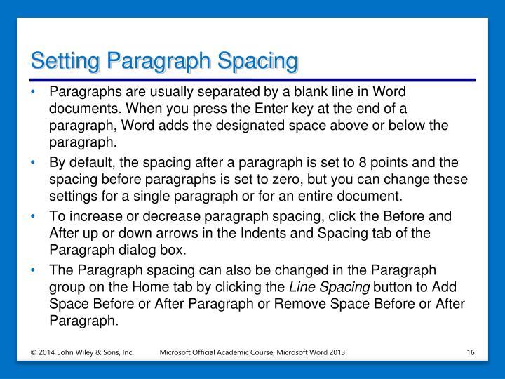 Setting Paragraph Spacing