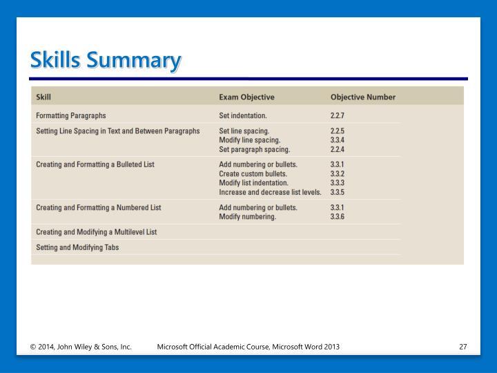 Skills Summary
