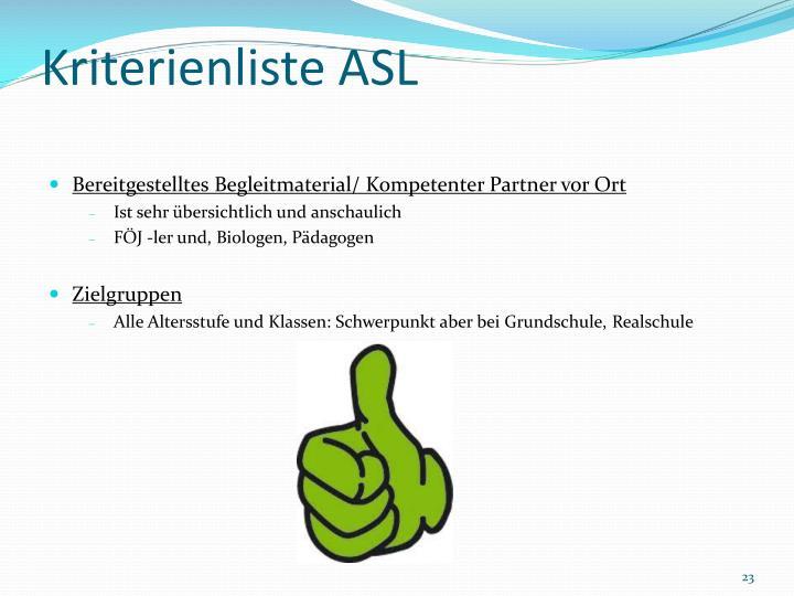 Kriterienliste ASL