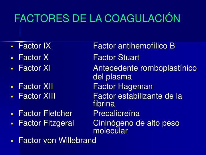 FACTORES DE LA COAGULACIÓN
