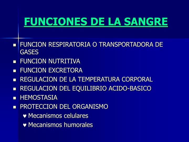 FUNCIONES DE LA SANGRE