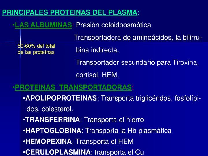 PRINCIPALES PROTEINAS DEL PLASMA