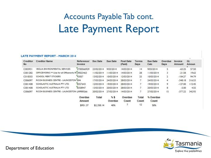 Accounts Payable Tab cont.