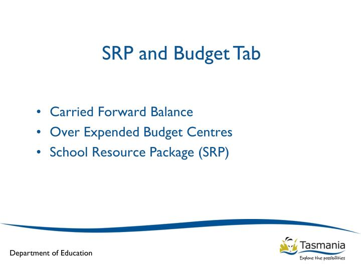 SRP and Budget Tab