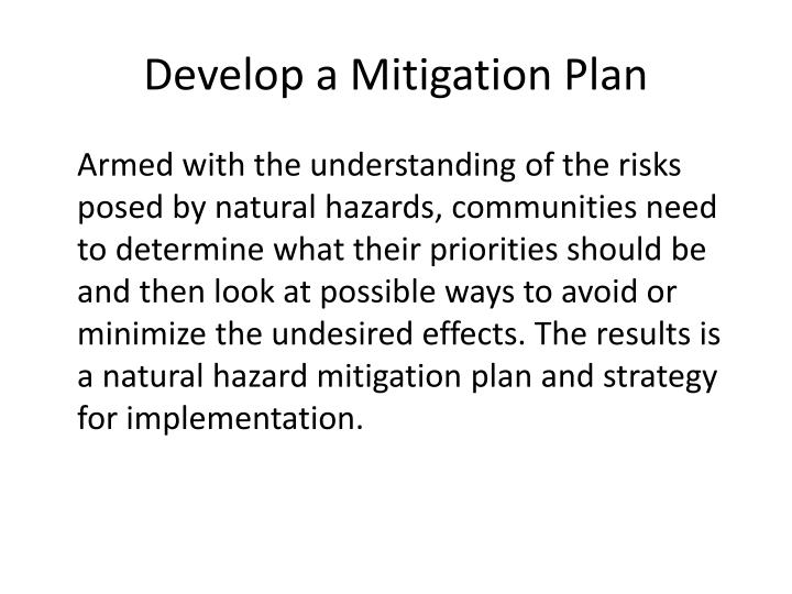 Develop a Mitigation Plan