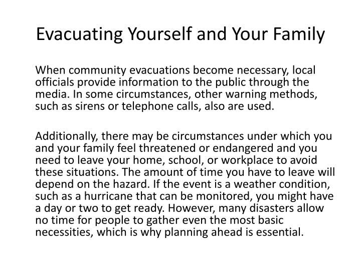 Evacuating Yourself and Your Family