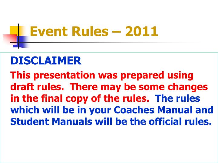 Event Rules – 2011