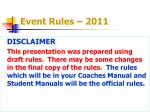 event rules 2011