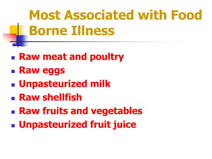 Most Associated with Food Borne Illness