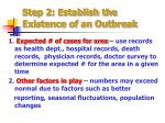 step 2 establish the existence of an outbreak