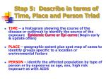step 5 describe in terms of time place and person triad