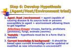 step 6 develop hypothesis agent host environment triad