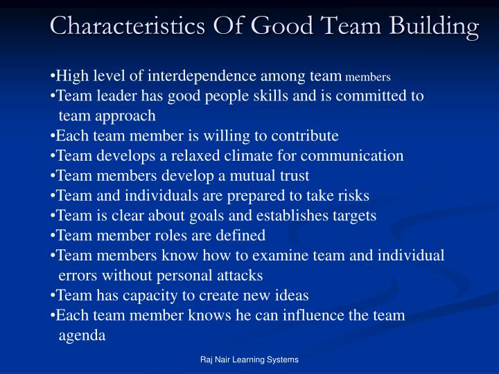 Characteristics Of Good Team Building