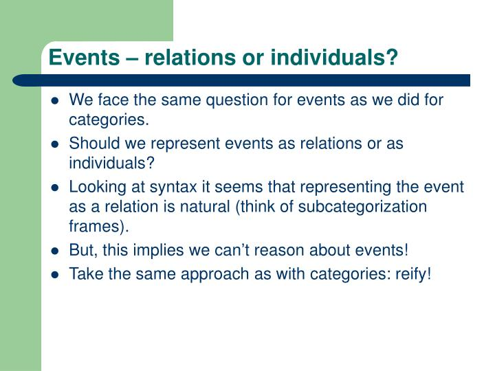 Events – relations or individuals?