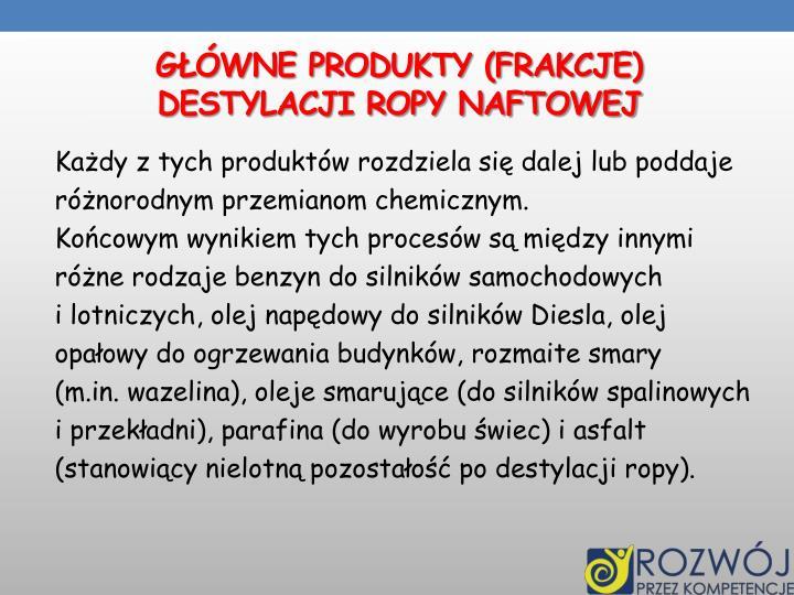 Główne produkty (frakcje)